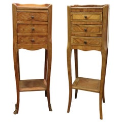 20th Century Italian Louis XV Style Inlay Wood Pair of Side Tables or Nightstand