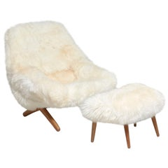 Lounge Chair with Ottoman Designed by Illum Wikkelsø in 1959, Model ML 91