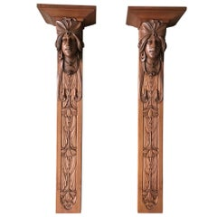Large and Amazing Pair of Art Nouveau Maharaja Bust Wall Brackets or Consoles