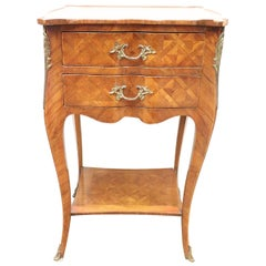 20th Century Italian Louis XV Style Marquetry Wood Side Table or Nightstand