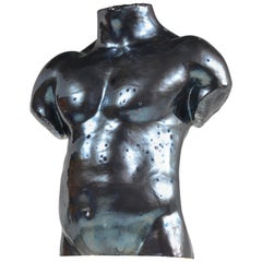 Life Size Ceramic Male Bust by Artist S Porter, circa 1985