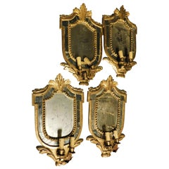 18th Century Four Antique Golden Frames with Mirrors and Candleholder