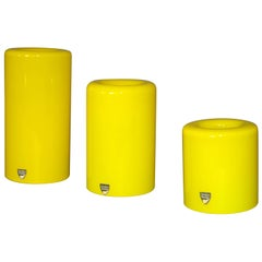 3 Orrefors Yellow Glass 'Eternell' Candlestick Holders, Designed by Owe Elvén
