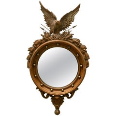 Faux Bois Federal Style Round Convex Eagle Mirror