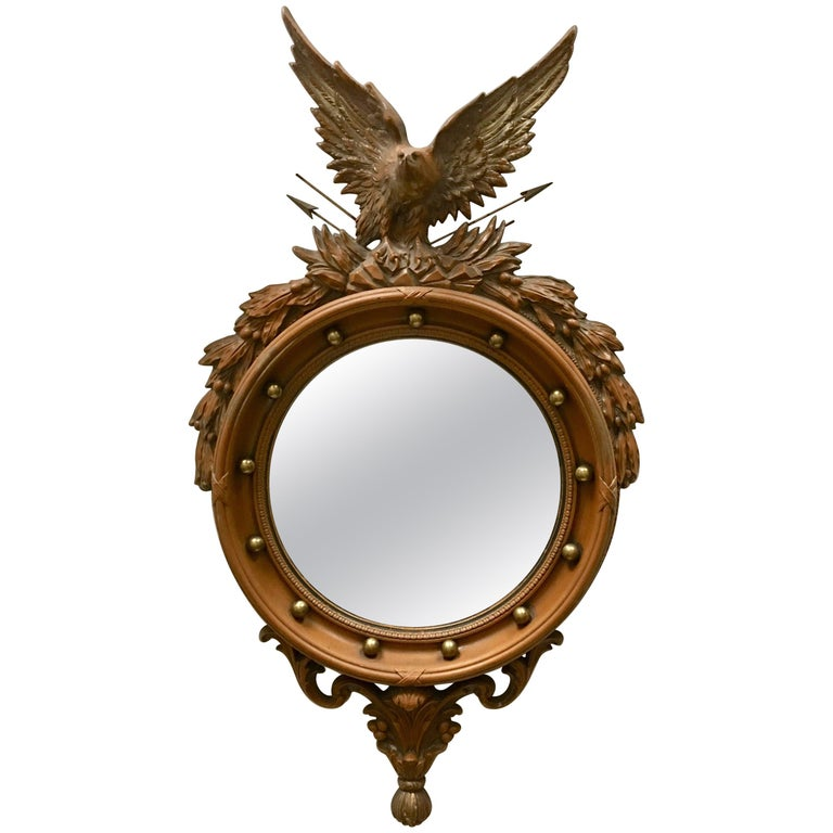 Faux Bois Federal Style Round Convex Eagle Mirror For Sale