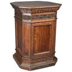 Extremely Rare Tuscan 15th Century Early Renaissance Walnut Sacristy Cupboard