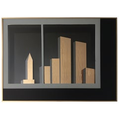 NYC Cityscape Cubist Gold and Black Mirror Wall Art by Jon Gilmore, 1980s