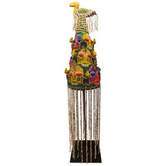 Mid-20th Century Multi-Color Nigerian Beaded Headdress