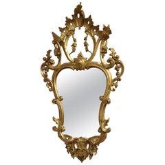 20th Century Italian Louis XV Style Golden Wood Luxury Wall Mirror