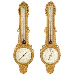 Pair of French 18th Century Louis XVI Period Thermometers and Barometers, 1779