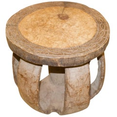 Andrianna Shamaris African Mahogany Wood Side Table or Stool