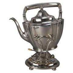 J. E. Caldwell Sterling Silver Teapot on Warming Stand with Burner, 20th Century