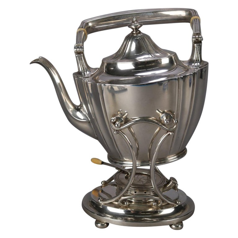 J. E. Caldwell Sterling Silver Teapot on Warming Stand with Burner, 20th Century For Sale