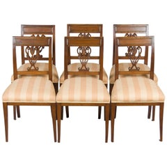 Set of Six Biedermeier Style Oak and Brass Dining Room Kitchen Chairs