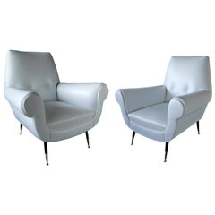 Pair of Italian Modern Leather and Brass Lounge Chairs, Gigi Radice for Minotti