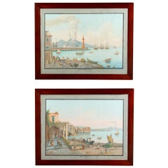 Pair of Italian 18th Century Neapolitan Gouaches in 19th Century Frames