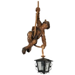 Vintage Hand-Carved Wooden Mountaineer Sculpture Pendant Light with Lantern