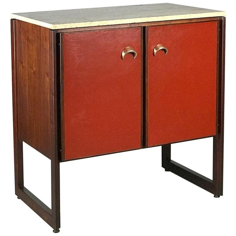 Striking Sideboard by Jens Risom in Rosewood Walnut and Travertine Marble For Sale