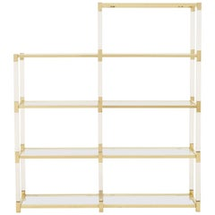 Spanish Midcentury Brass and Lucite Etagere