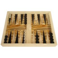 1960s Onyx and Marble Backgammon Set