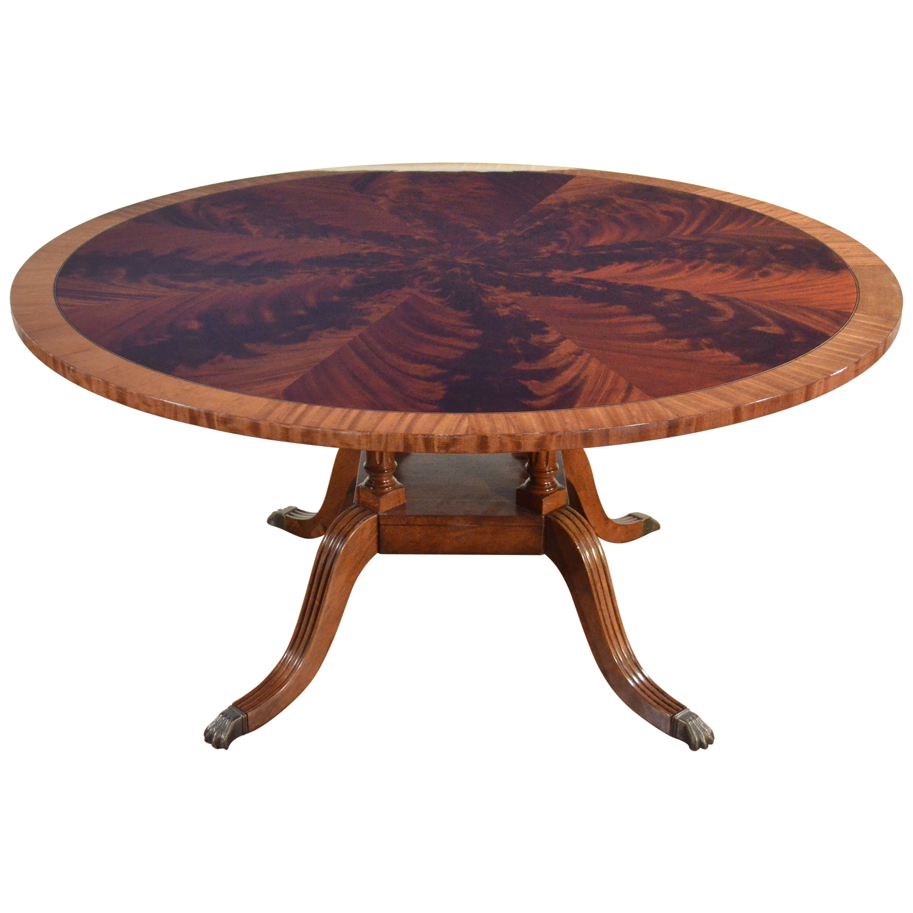 Round Mahogany Georgian Style Pedestal Dining Table by Leighton Hall