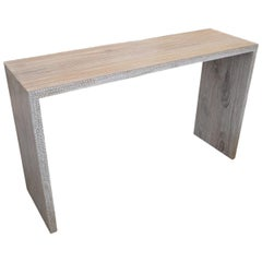 Andrianna Shamaris St. Barts Teak Wood Console with Shell Inlay
