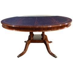 Round/Oval Mahogany Georgian Style Single Pedestal Dining Table by Leighton Hall