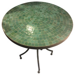 Moroccan Micro Mosaic Turquoise Green Tabletop on a Wrought Iron Base