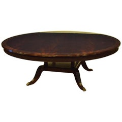 Large Round Crotch Mahogany Regency Style Dining Table by Leighton Hall