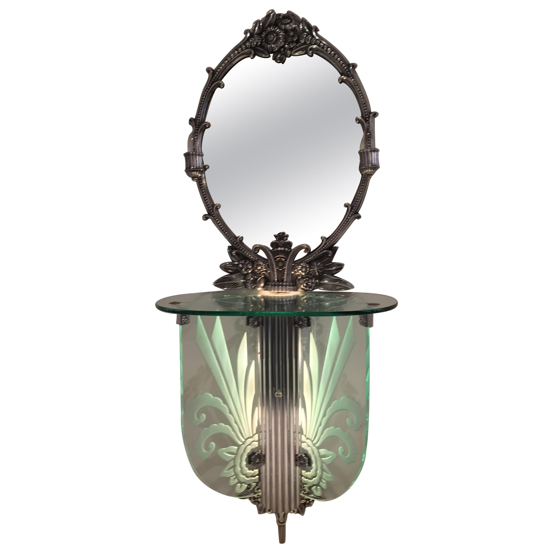 Art Deco Illuminated Vanity Together Mirror with Stool Paramount Theater Boston
