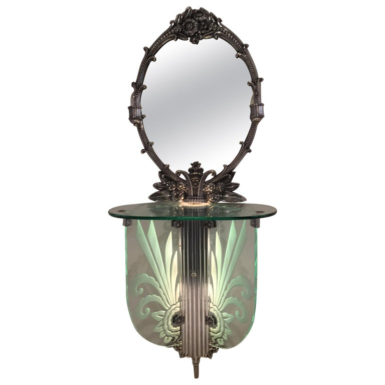 Art Deco Illuminated Vanity Together Mirror with Stool Paramount Theater Boston For Sale