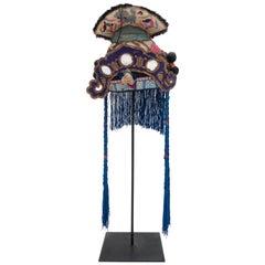 Antique Hand Embroidered Silk Miao Minority Tribe Child's Headdress