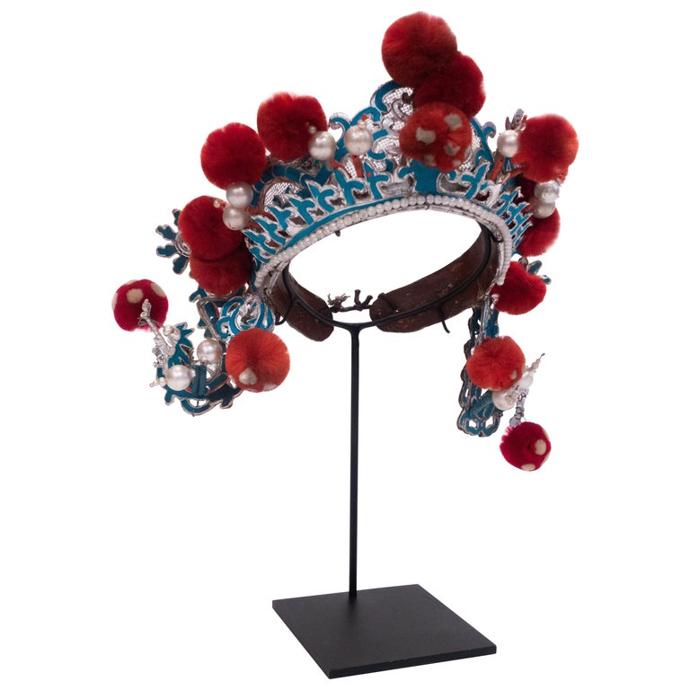 Antique Chinese Opera Theatre Headdress in Turquoise with Red Pom Poms For Sale