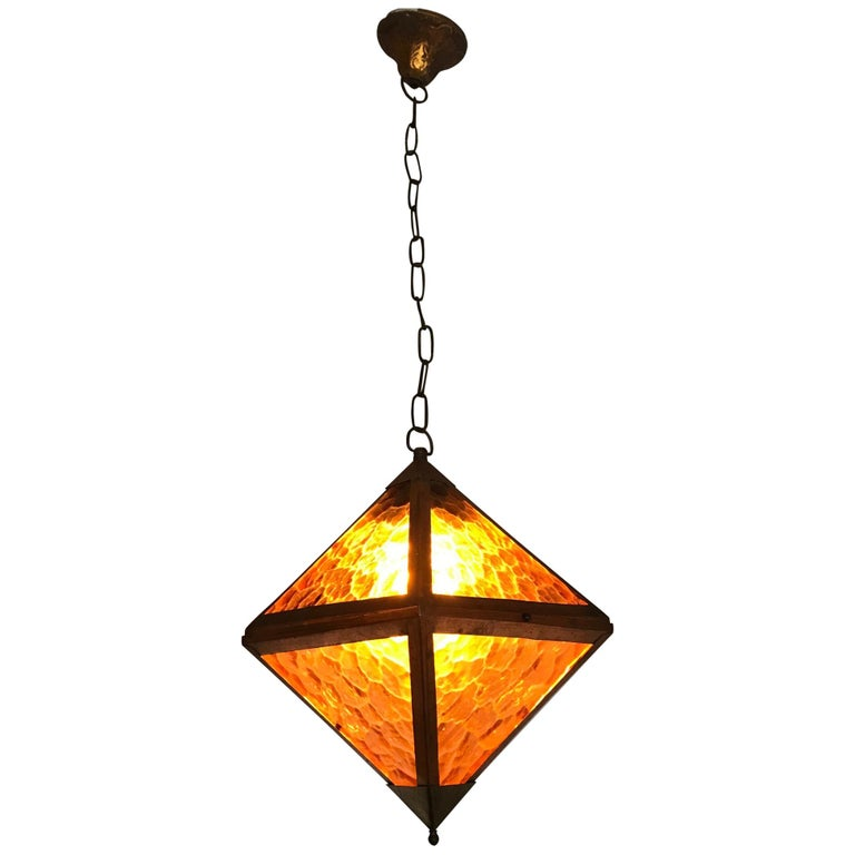 Early 20th Century Arts & Crafts Copper and Glass Cube Shape Pendant Light Lamp For Sale