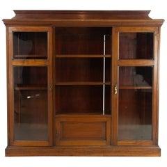 Antique Walnut Bookcase, Walnut Display Cabinet, Victorian Bookcase, 1890