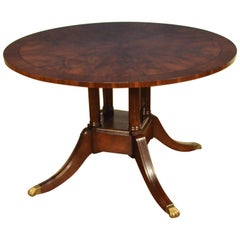 Round Walnut Georgian Style Pedestal Dining Table by Leighton Hall