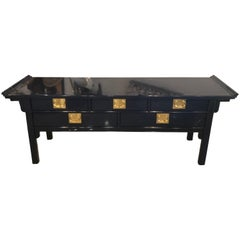 Pagoda Console Table by Century Newly Lacquered Navy Blue Brass Pulls