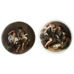 """Beggar Boys"" Decorative Plates by Limoges Lazeyras, Signed, France"