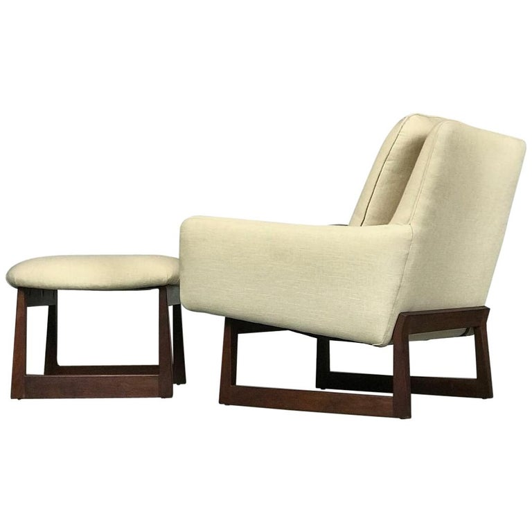 Lounge Chair and Ottoman Designed by Jens Risom For Sale