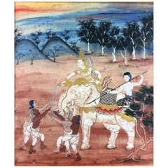 Thai Art Set of Three Paintings from Rattanakosin Jatakas, 18th-19th Century