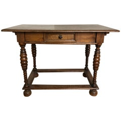 Carved Wood Rustic Provincial Country French Farm Desk / Table, Early 1900s