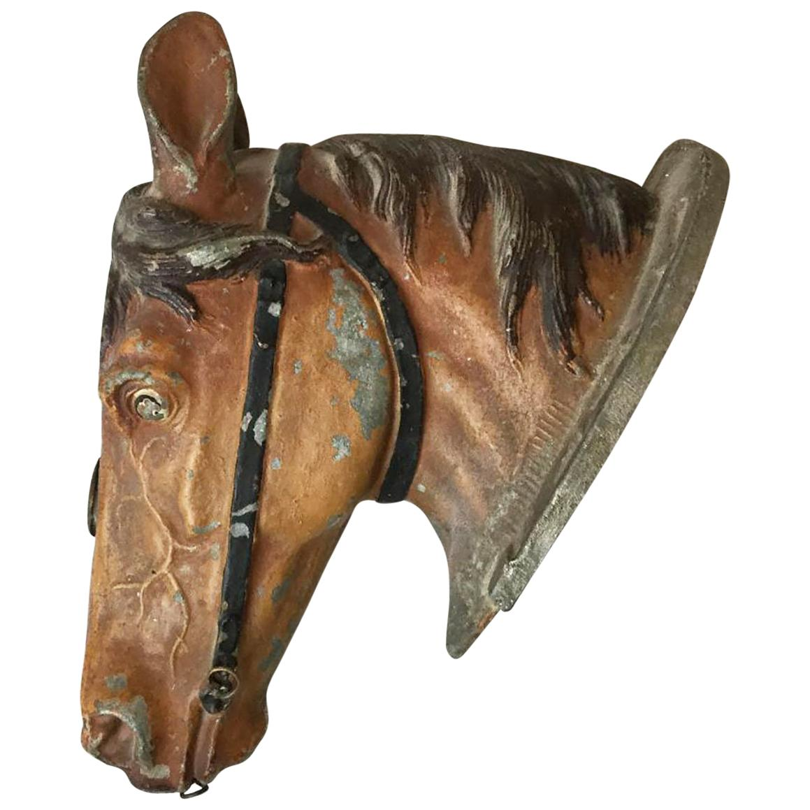 19th Century Painted Metal Horse Head