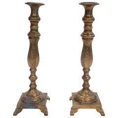 Pair of Tall Moroccan Brass Candlesticks, 1950s