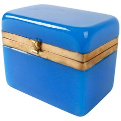 19th Century French Vivid Blue Opaline Box with Bronze Doré Banding