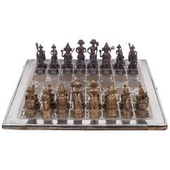 Midcentury Bronze and Brass Inlay Indian Chess Set, circa 1960