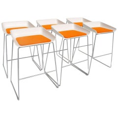 Set of 6 Modern Scoop Stools by Steelcase