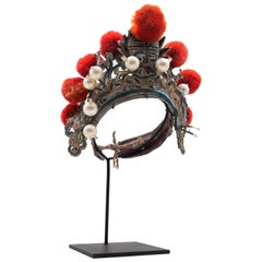 Antique Chinese Theatre Opera Headdress in Turquoise and Coral Colored Pom Poms