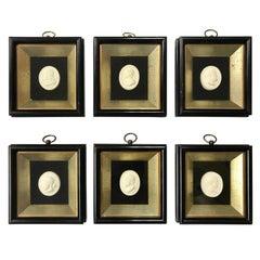 Set of 6 Greco-Roman Plaster Intaglios Medallions