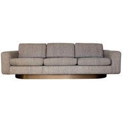 Vintage Modern Custom Sofa Floating on Brushed Brass Plinth Base