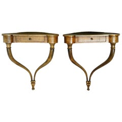 Pair of Small Console Tables French Country House Demilune Wall Mounted Shelves